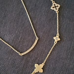 2 lia Sophia necklaces, gold
